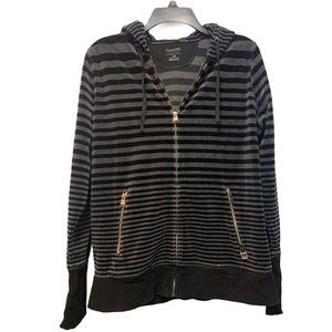 Calvin Klein Sweater with Hood Stripes Black Gray